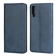 Leather Case Stands Flip Cover L01 Holder for Samsung Galaxy A70 Blue