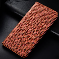 Leather Case Stands Flip Cover L01 Holder for Samsung Galaxy A81 Brown