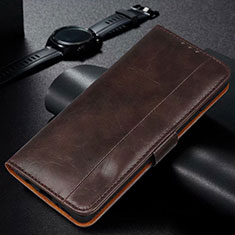 Leather Case Stands Flip Cover L01 Holder for Samsung Galaxy M21 Brown