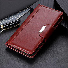 Leather Case Stands Flip Cover L01 Holder for Samsung Galaxy S21 Ultra 5G Brown
