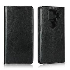 Leather Case Stands Flip Cover L01 Holder for Sharp AQUOS Sense4 Plus Black