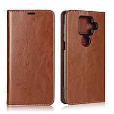 Leather Case Stands Flip Cover L01 Holder for Sharp AQUOS Sense4 Plus Light Brown