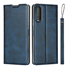 Leather Case Stands Flip Cover L01 Holder for Sony Xperia 10 II Blue