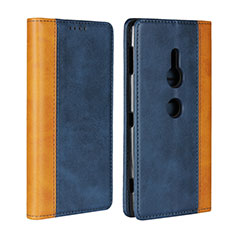 Leather Case Stands Flip Cover L01 Holder for Sony Xperia XZ2 Blue