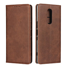 Leather Case Stands Flip Cover L01 Holder for Sony Xperia XZ4 Brown