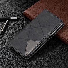 Leather Case Stands Flip Cover L01 Holder for Vivo X50 5G Black
