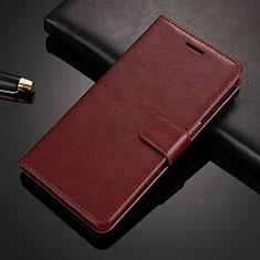 Leather Case Stands Flip Cover L01 Holder for Vivo X50 Lite Brown