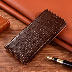 Leather Case Stands Flip Cover L01 Holder for Vivo X50e 5G Brown