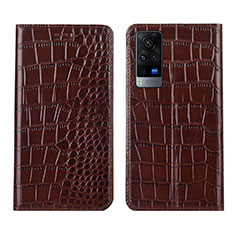 Leather Case Stands Flip Cover L01 Holder for Vivo X60 5G Brown