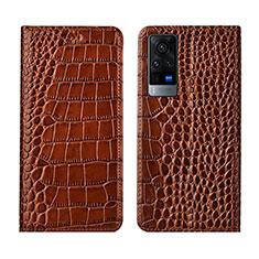 Leather Case Stands Flip Cover L01 Holder for Vivo X60 5G Light Brown