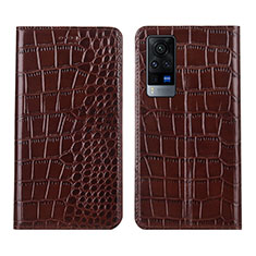 Leather Case Stands Flip Cover L01 Holder for Vivo X60 Pro 5G Brown
