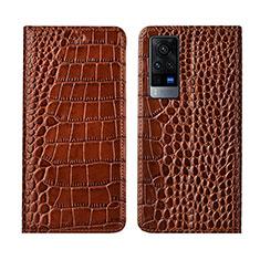 Leather Case Stands Flip Cover L01 Holder for Vivo X60 Pro 5G Light Brown