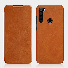 Leather Case Stands Flip Cover L01 Holder for Xiaomi Redmi Note 8 Brown