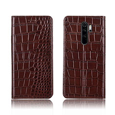 Leather Case Stands Flip Cover L01 Holder for Xiaomi Redmi Note 8 Pro Brown
