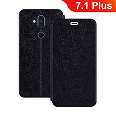 Leather Case Stands Flip Cover L02 for Nokia 7.1 Plus Black