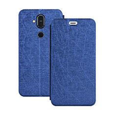 Leather Case Stands Flip Cover L02 for Nokia 7.1 Plus Blue