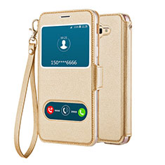 Leather Case Stands Flip Cover L02 for Samsung Galaxy J5 Prime G570F Gold