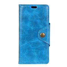 Leather Case Stands Flip Cover L02 Holder for Alcatel 1 Blue