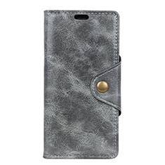 Leather Case Stands Flip Cover L02 Holder for Alcatel 1 Gray