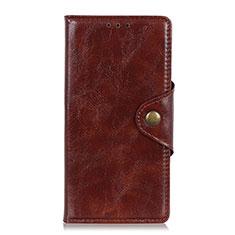 Leather Case Stands Flip Cover L02 Holder for Alcatel 3 (2019) Brown