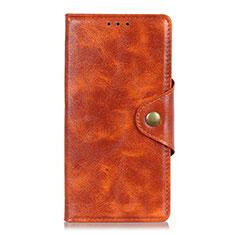 Leather Case Stands Flip Cover L02 Holder for Alcatel 3 (2019) Orange