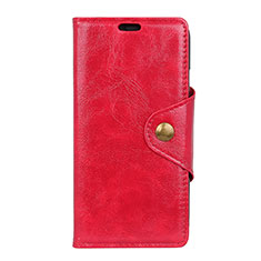 Leather Case Stands Flip Cover L02 Holder for Alcatel 3 Red
