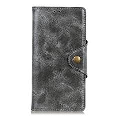 Leather Case Stands Flip Cover L02 Holder for Alcatel 3L Gray