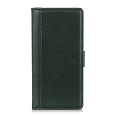 Leather Case Stands Flip Cover L02 Holder for Alcatel 3X Green