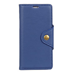 Leather Case Stands Flip Cover L02 Holder for Alcatel 7 Blue