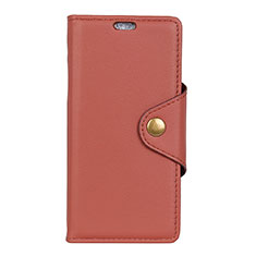 Leather Case Stands Flip Cover L02 Holder for Alcatel 7 Brown