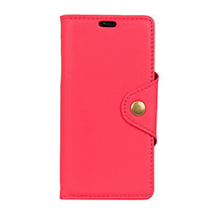 Leather Case Stands Flip Cover L02 Holder for Alcatel 7 Red