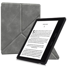 Leather Case Stands Flip Cover L02 Holder for Amazon Kindle Oasis 7 inch Gray