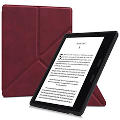 Leather Case Stands Flip Cover L02 Holder for Amazon Kindle Oasis 7 inch Red Wine
