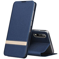 Leather Case Stands Flip Cover L02 Holder for Huawei Honor 9X Blue