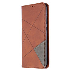 Leather Case Stands Flip Cover L02 Holder for Huawei Y7p Brown
