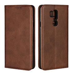 Leather Case Stands Flip Cover L02 Holder for LG G7 Brown