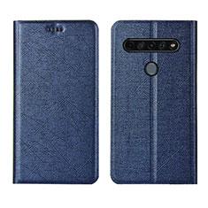Leather Case Stands Flip Cover L02 Holder for LG K41S Blue
