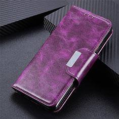 Leather Case Stands Flip Cover L02 Holder for LG K52 Purple