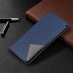 Leather Case Stands Flip Cover L02 Holder for LG K61 Blue