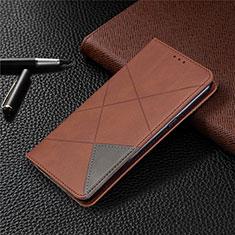 Leather Case Stands Flip Cover L02 Holder for LG K61 Brown