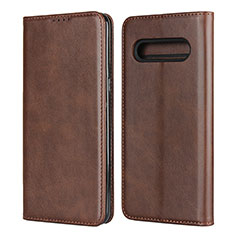 Leather Case Stands Flip Cover L02 Holder for LG V60 ThinQ 5G Brown
