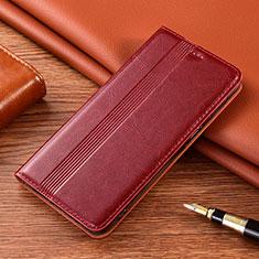 Leather Case Stands Flip Cover L02 Holder for Motorola Moto E7 Plus Red Wine