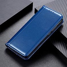 Leather Case Stands Flip Cover L02 Holder for Motorola Moto Edge Blue