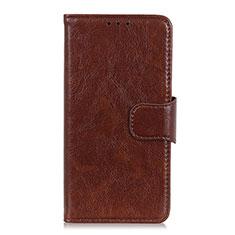 Leather Case Stands Flip Cover L02 Holder for Motorola Moto G 5G Brown