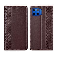 Leather Case Stands Flip Cover L02 Holder for Motorola Moto G 5G Plus Brown