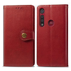 Leather Case Stands Flip Cover L02 Holder for Motorola Moto G8 Play Red