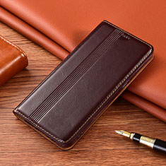 Leather Case Stands Flip Cover L02 Holder for Motorola Moto G9 Brown