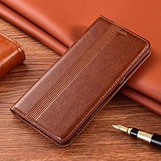 Leather Case Stands Flip Cover L02 Holder for Motorola Moto G9 Light Brown