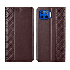 Leather Case Stands Flip Cover L02 Holder for Motorola Moto One 5G Brown