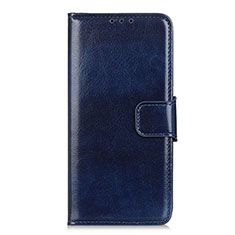 Leather Case Stands Flip Cover L02 Holder for Motorola Moto One Fusion Plus Blue
